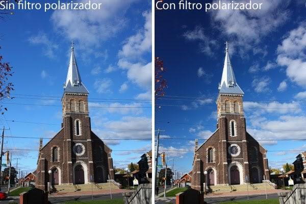 Cielo con y sin filtro polarizador