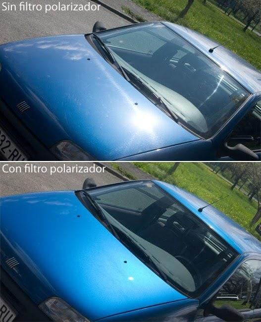 Coche con y sin filtro polarizador