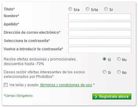 Photobox formulario