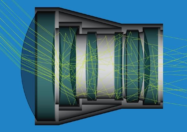 Componentes de cristal en el interior de un objetivo