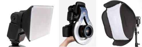Con cualquiera de estos tres accesorios lograremos una luz suave y uniforme