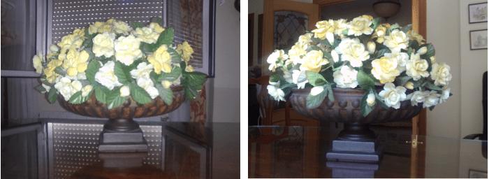 Las ventanas cerradas evitan el contraluz y el flash ilumina la escena. La segunda foto está tomada con la ventana en la espalda y con la luz natural que entra por ella. Mucho mejor en ambos casos.