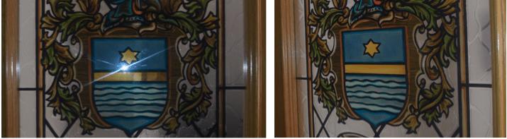 La misma foto tomada con flash totalmente de frente y tomada con flash en diagonal.