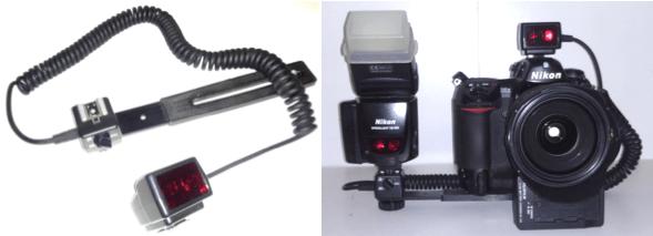 Cable TTL sincro en espiral. Transmite todas las funciones entre cámara y flash.