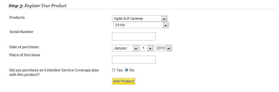 Registro de productos de Nikon