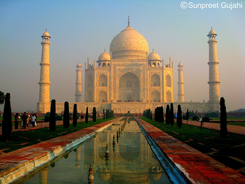 La misma perspectiva del Taj Mahal pero al atardecer, por DJ SINGH