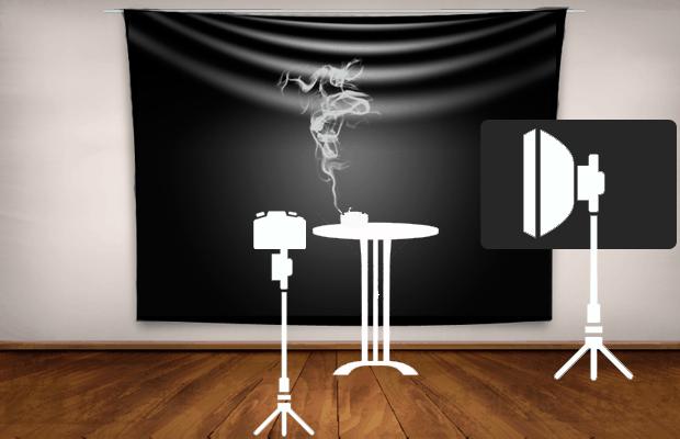 Posición de los materiales para una fotografía de humo óptima