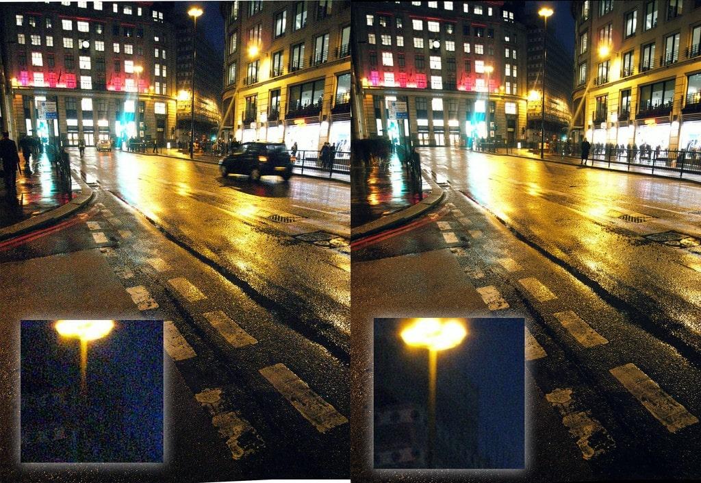 Izquierda: ISO 1600 | Derecha: ISO 400