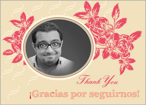 Tarjeta de agradecimiento para ti y todos los que nos seguís.
