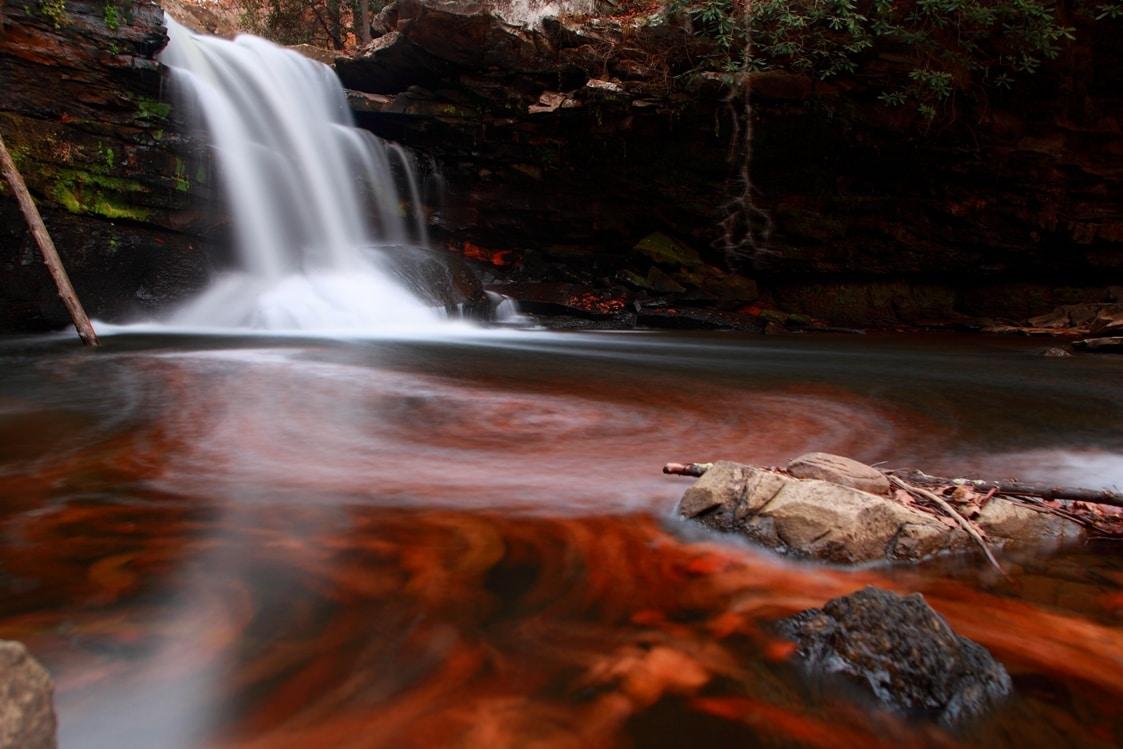 fiery-autumn-waterfall
