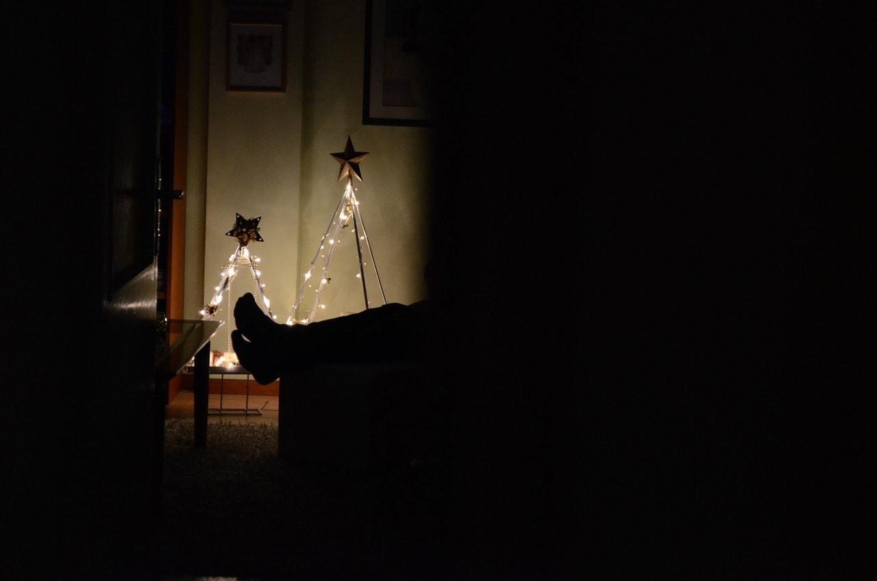pies con decoración navideña