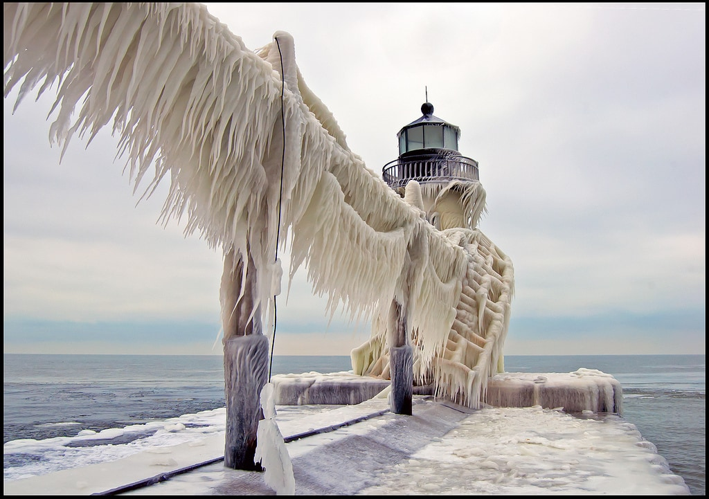 A December storm created 20 foot waves on Lake Michigan, covering everything with a thick layer of ice.