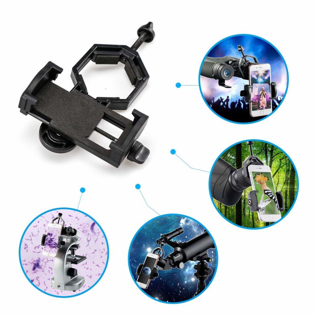 ejemplos de uso del adaptador para el móvil para telescopio