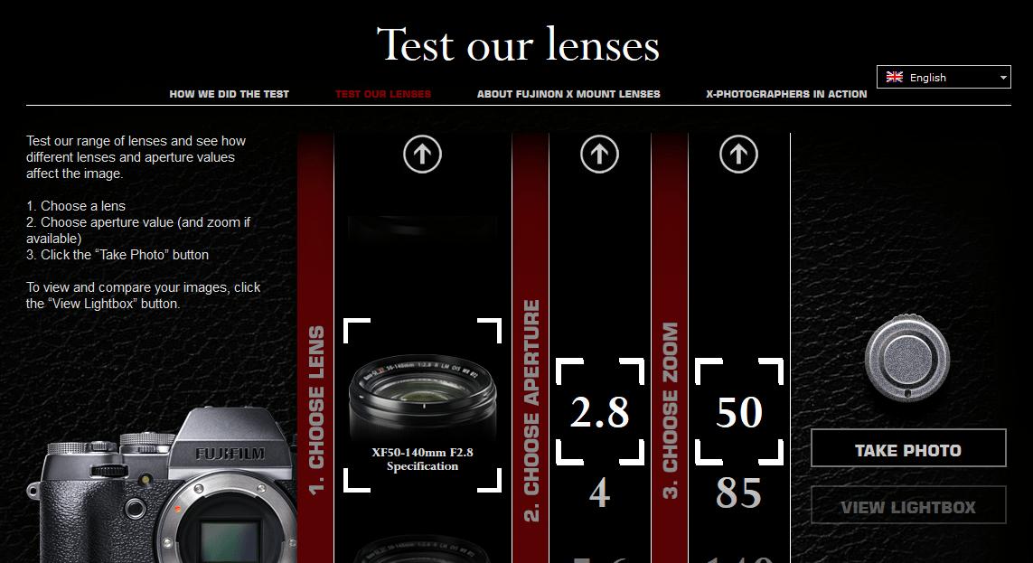 simulador y test de lentes Fujifilm