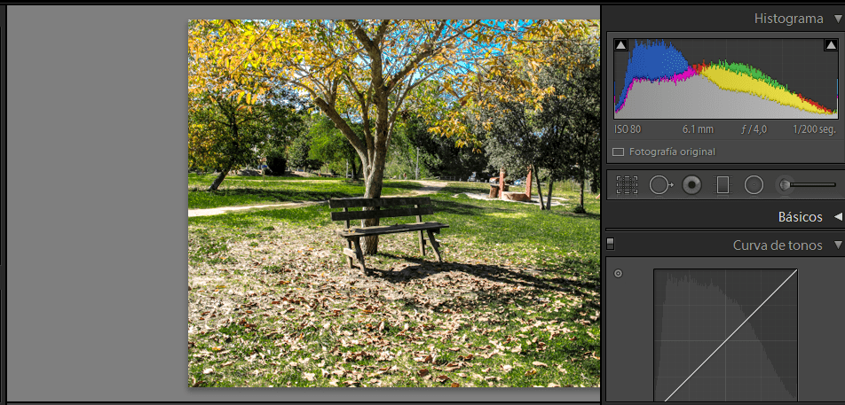 fotografía paisaje con curva de tonos