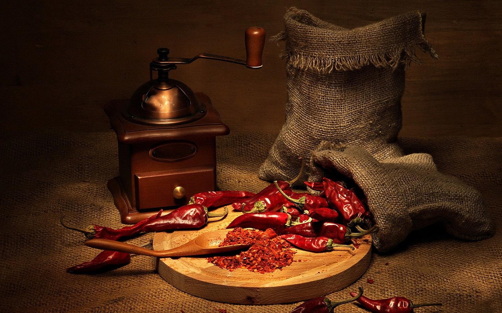 fotografía culinaria de pimientos rojos