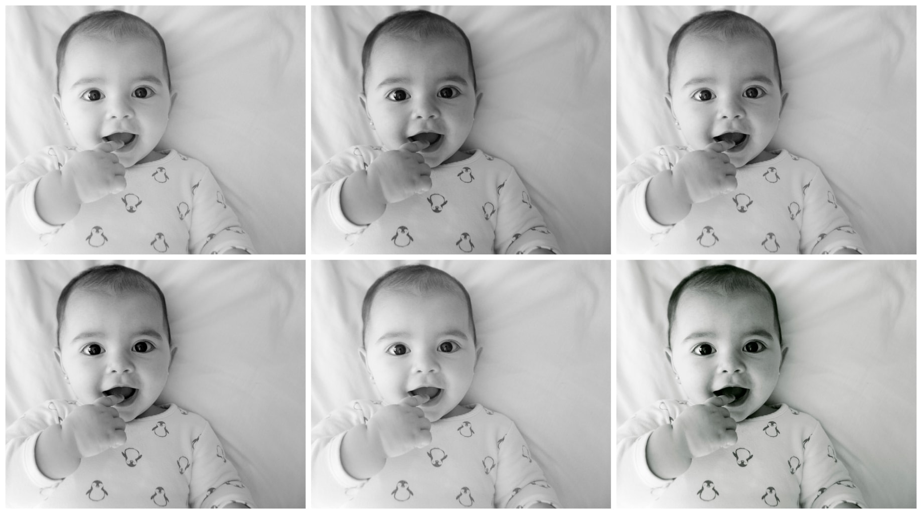 photoshop collage blanco y negro bebé alegre
