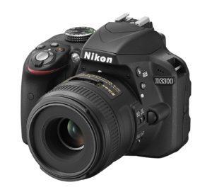 fotografía frontal de cámara Nikon D3300
