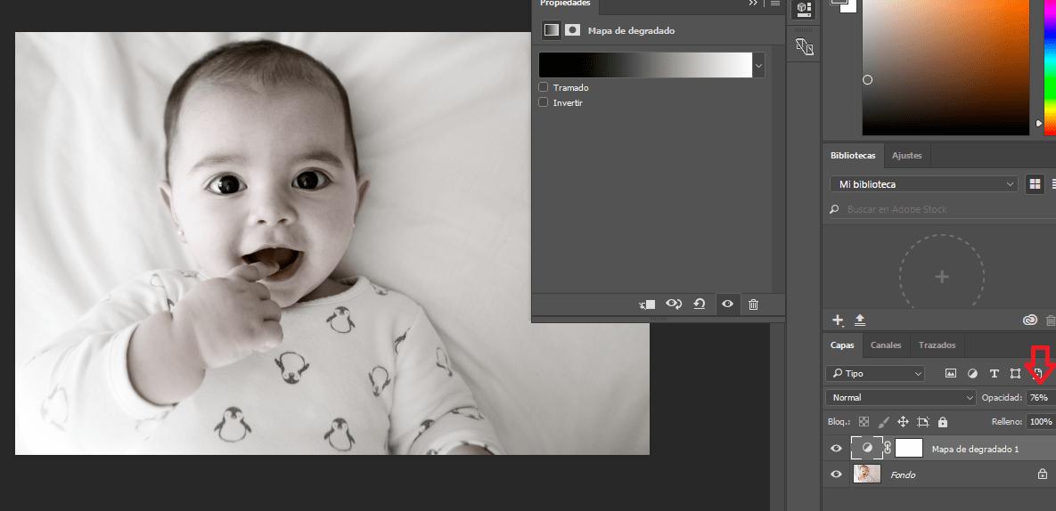 photoshop blanco y negro propiedades
