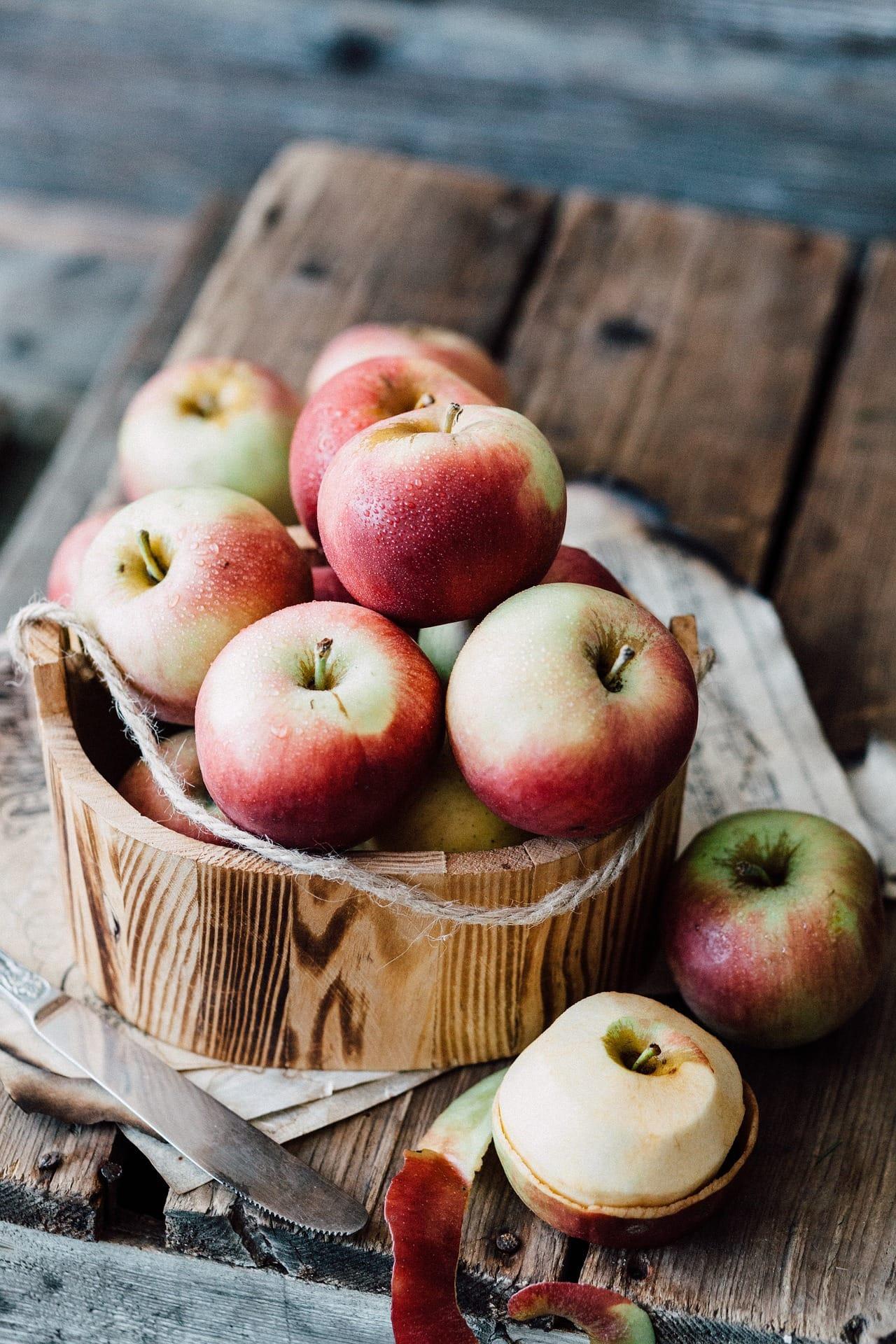 Fotografía culinaria de unas manzanas