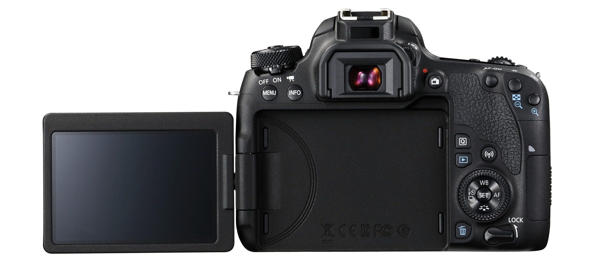 Parte trasera de cámara réflex Canon 77D con pantalla