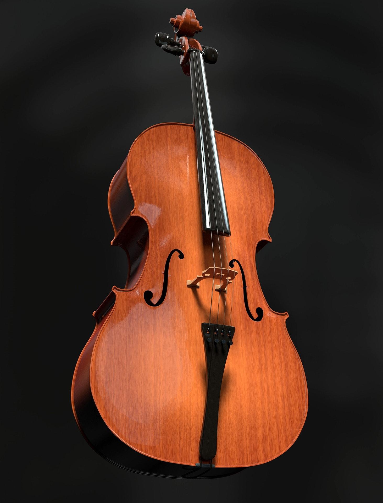 fotografía  de un violonchelo con fondo negro