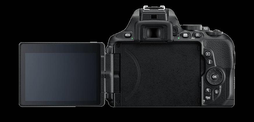 fotografía trasera de cámara réflex Nikon D5600 con pantalla