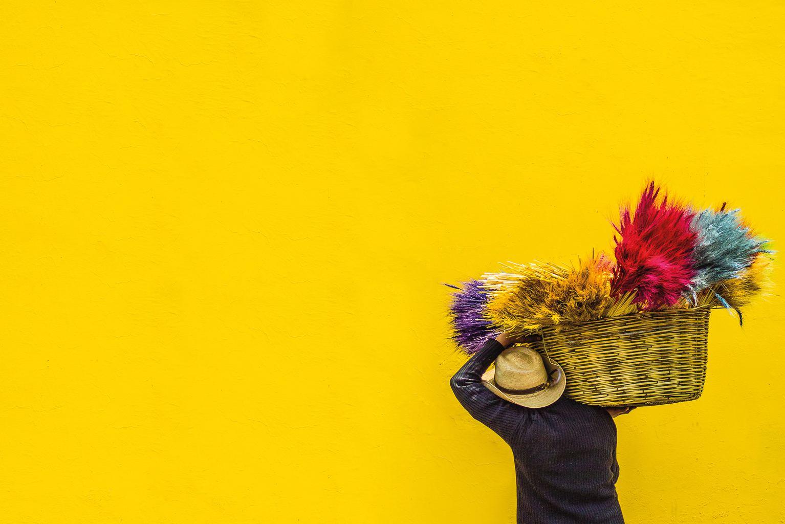 fotografía hombre y un muro amarillo