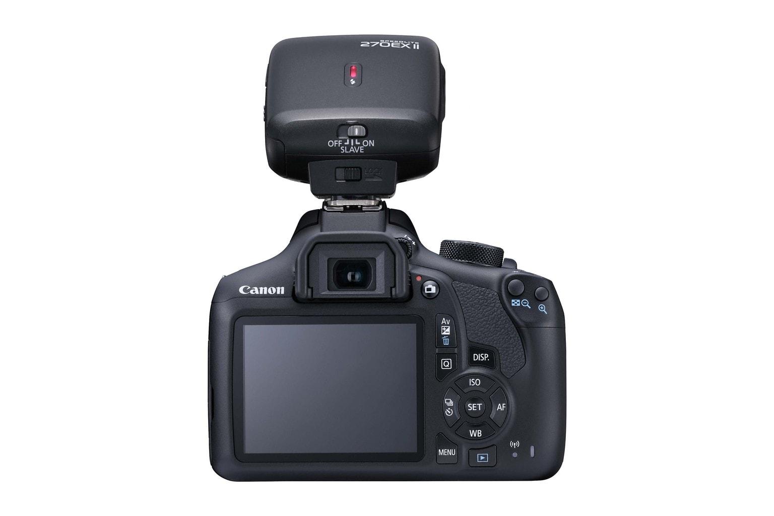 Fotografía trasera de la cámara réflex Canon 1300D