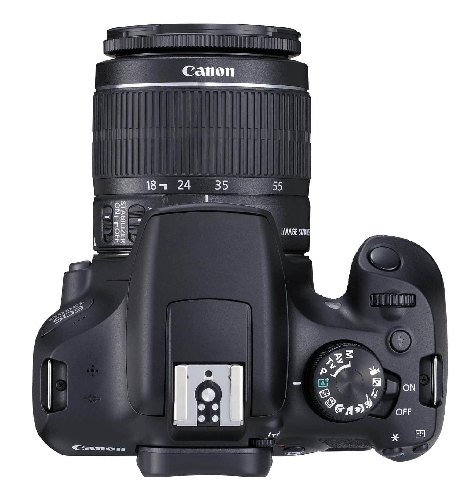 fotografía desde arriba de cámara réflex Canon 1300D