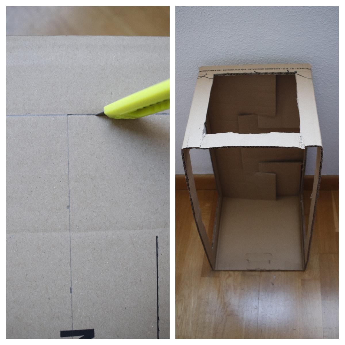 Cortar cartón para caja de luz