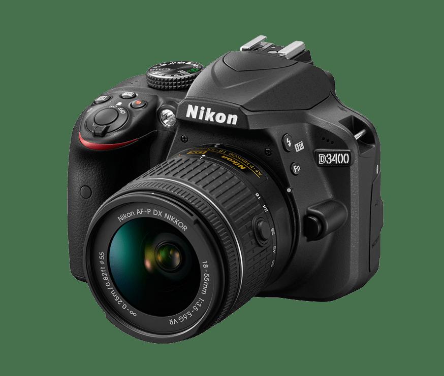Fotografía frontal de cámara réflex Nikon D3400