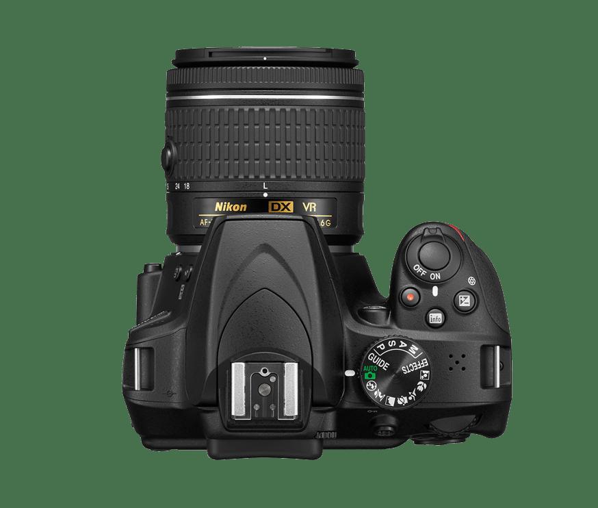 Fotografía desde arriba de cámara réflex Nikon D3400