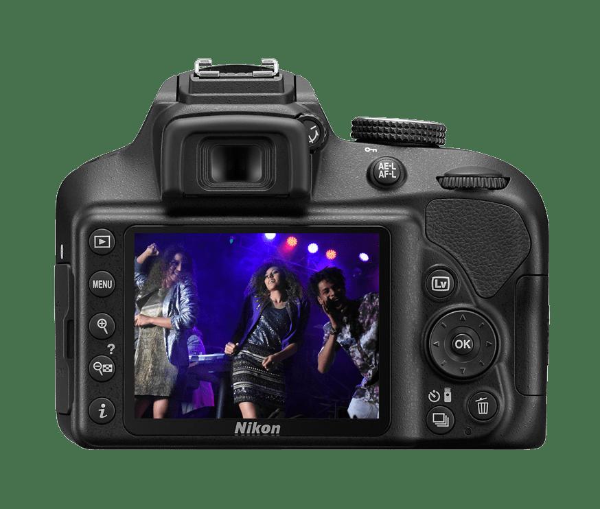 fotografía trasera de cámara réflex Nikon D3400