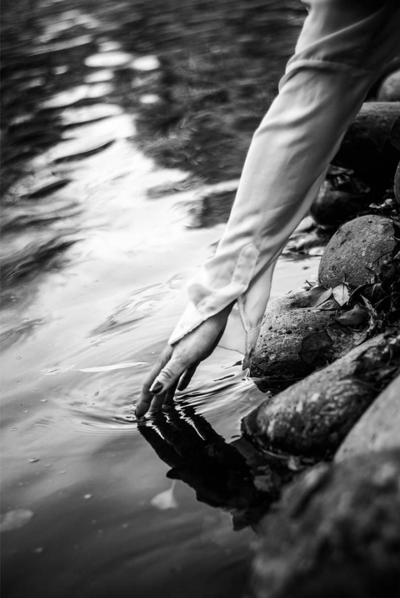 fotografía en blanco y negro de una mano en el río