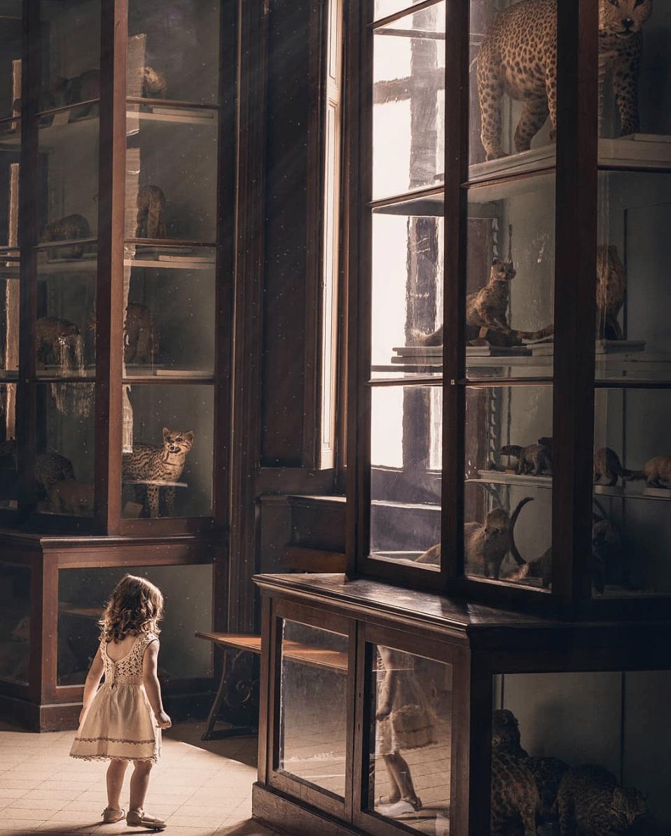 Fotografía de una niña en un museo