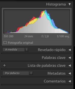 captura del histograma en Lightroom