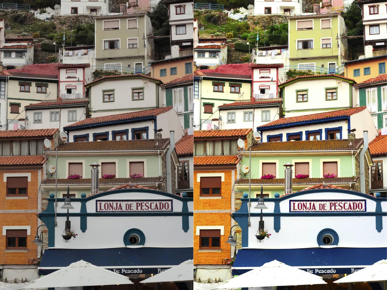 dos fotografías comparativas capas de ajuste