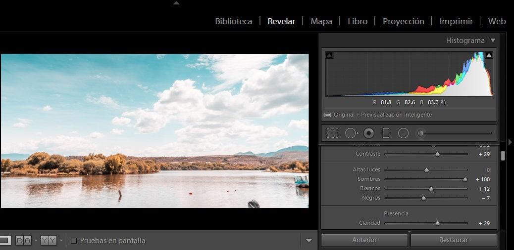 edición imagen histograma en Lightroom