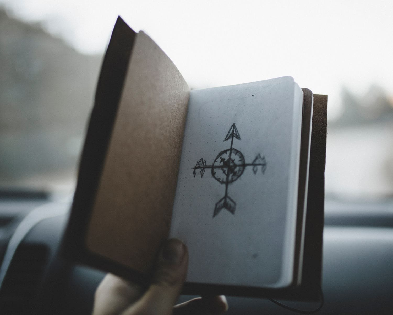 fotografía dibujo de una brújula