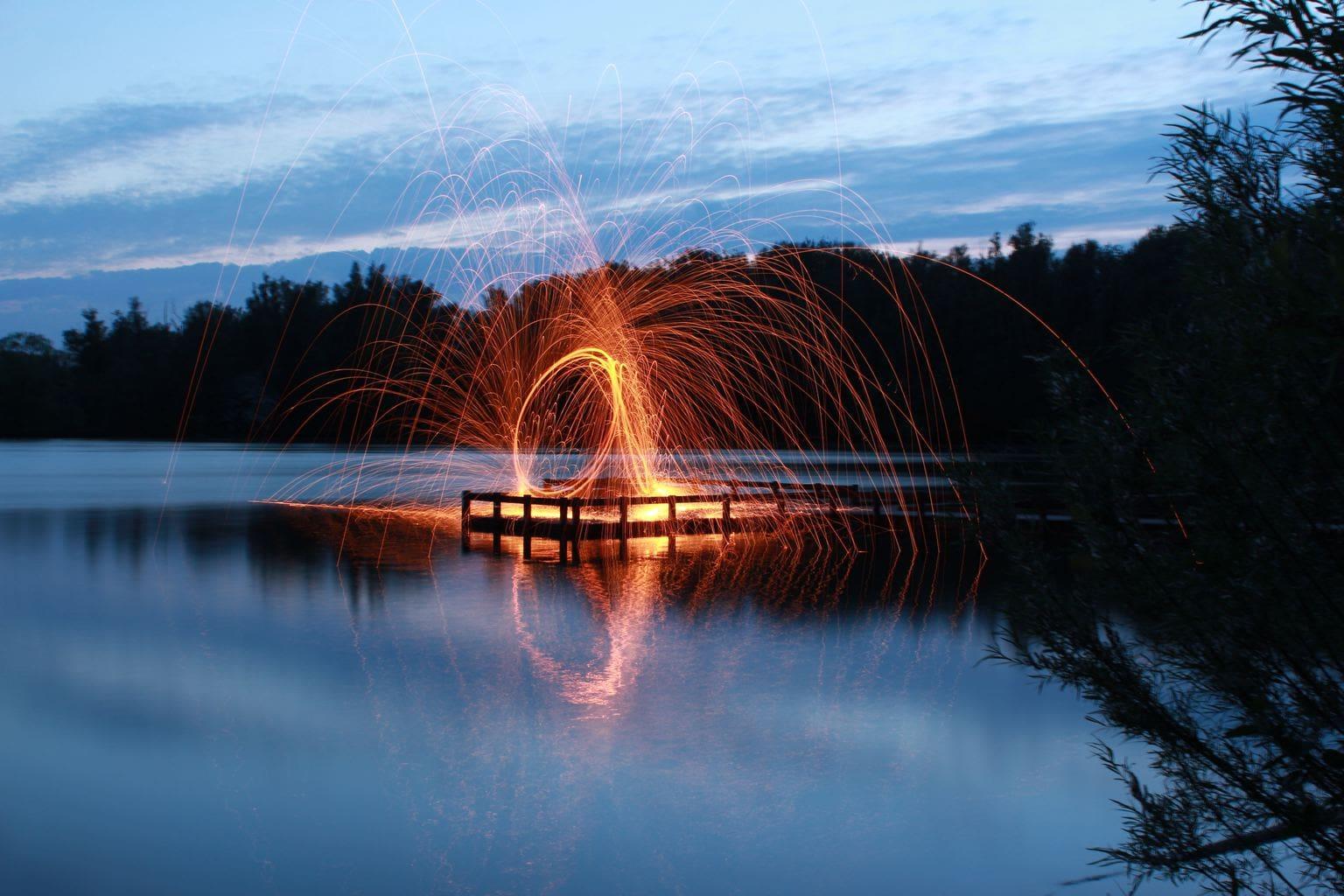 lightpainting en lago