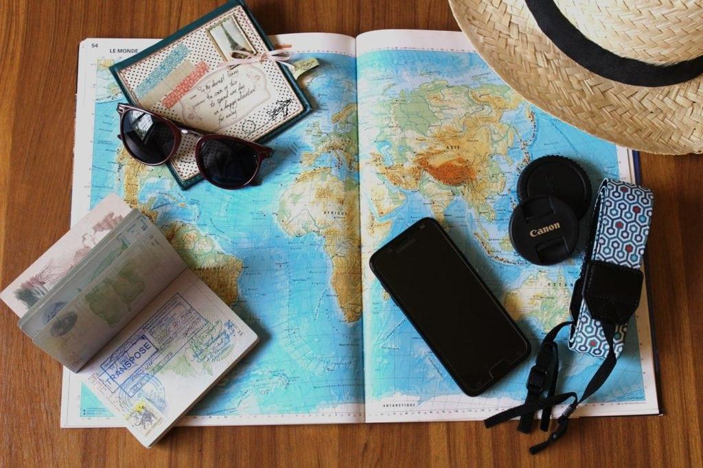 Composición de temática de viajes