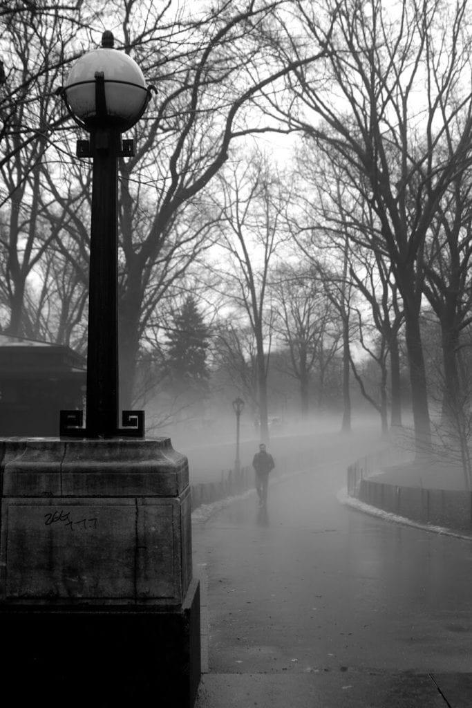 Parque en blanco y negro con farola y niebla