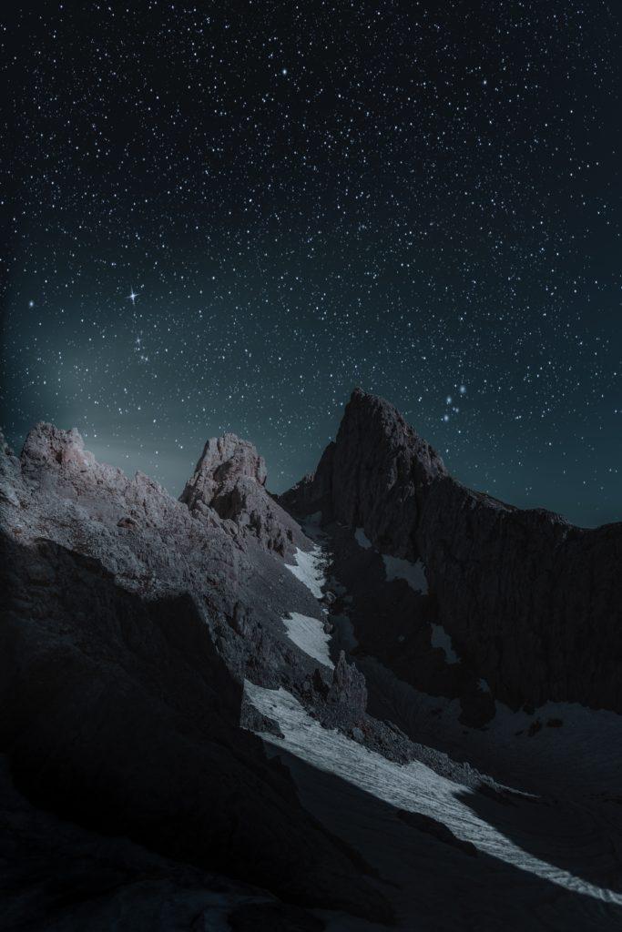 estrellas paisaje montaña