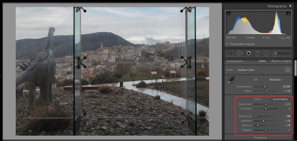 captura pantalla ligthroom ajustes exposición contraste blancos y negros
