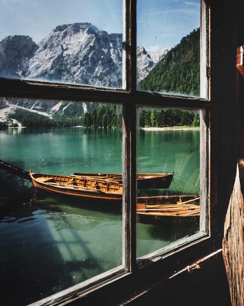 ventana paisaje canoa