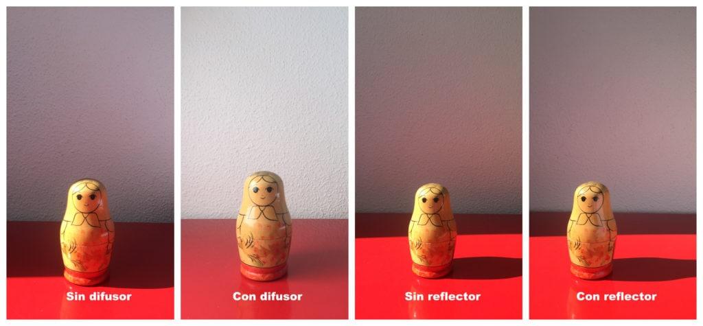 Comparativa de fotos con y sin reflector, y con y sin difusor
