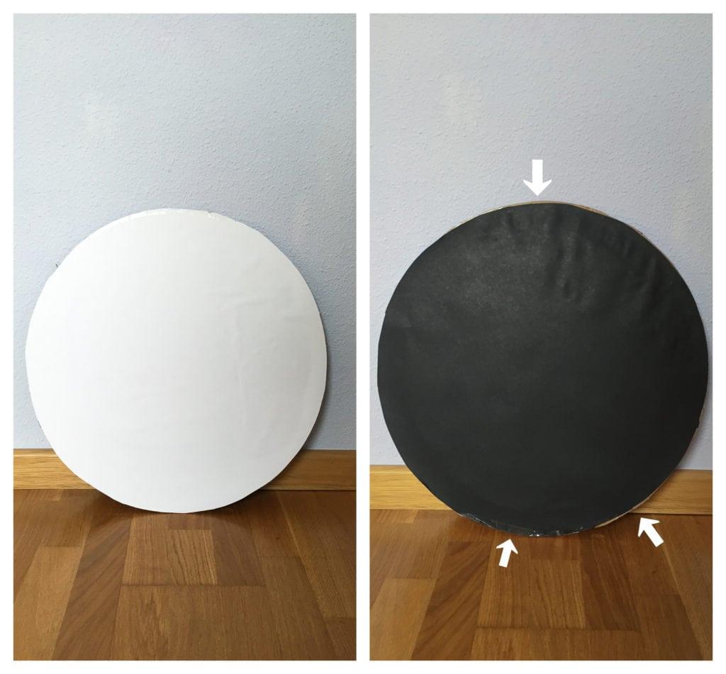 Reflector casero por la parte blanca y por la parte negra