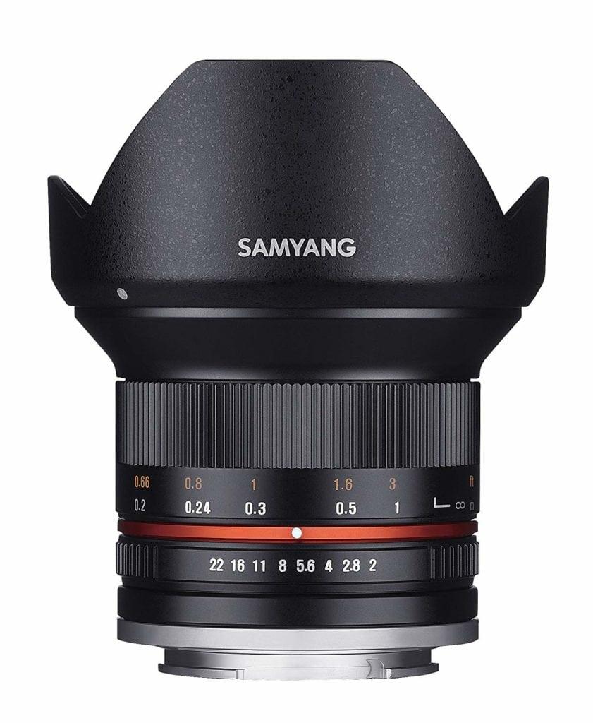 Vista del objetivo gran angular samyang 12 mm