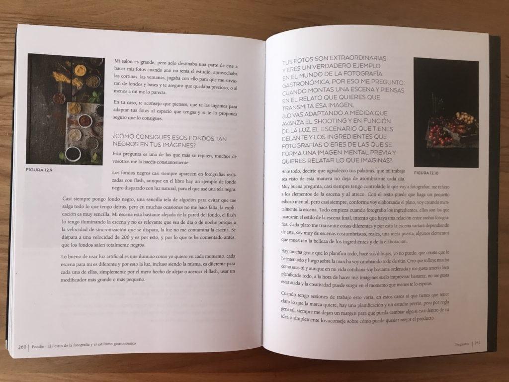 interior del libro de fotografía gastronómica Foodie